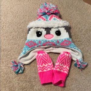 Penguin Winter Hat & Gloves, 12-24 Months